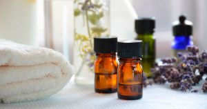Essential oils, towel and other massage and spa objects
