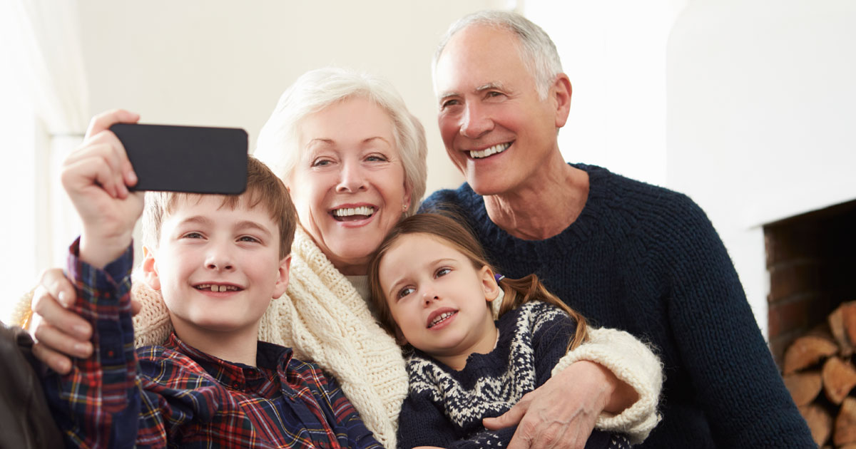 Grandparents spending time with grandchildren