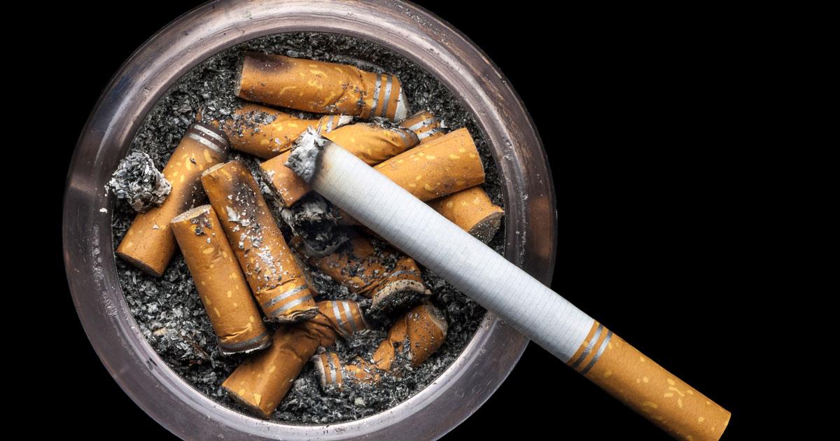 Cigarettes and ashtray